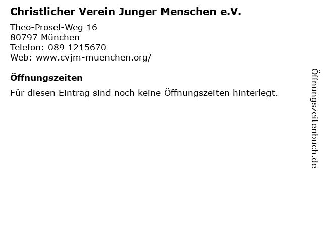 Christlicher Verein Junger Menschen e.V. in München: Adresse und Öffnungszeiten