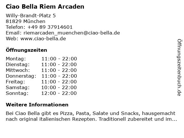 ciao bella Riem Arcaden in München: Adresse und Öffnungszeiten
