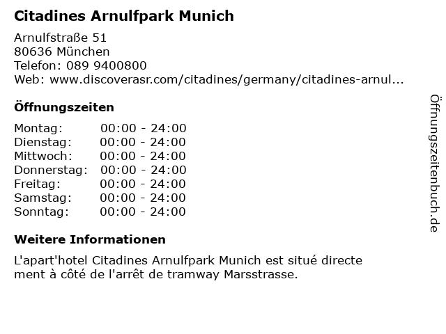 Citadines Munich Arnulfpark in München: Adresse und Öffnungszeiten