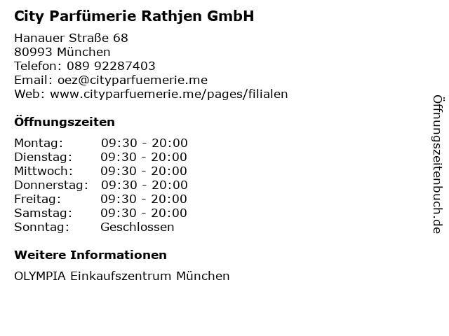 City Parfümerie Rathjen GmbH in München: Adresse und Öffnungszeiten