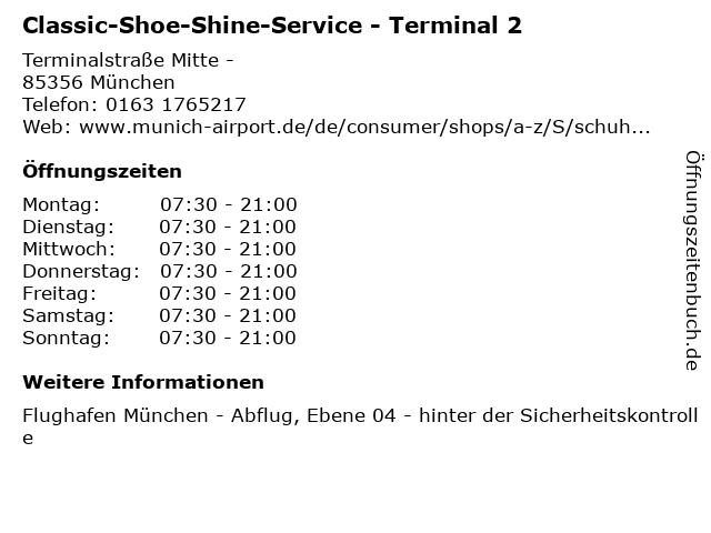 Classic-Shoe-Shine-Service - Terminal 2 in München: Adresse und Öffnungszeiten