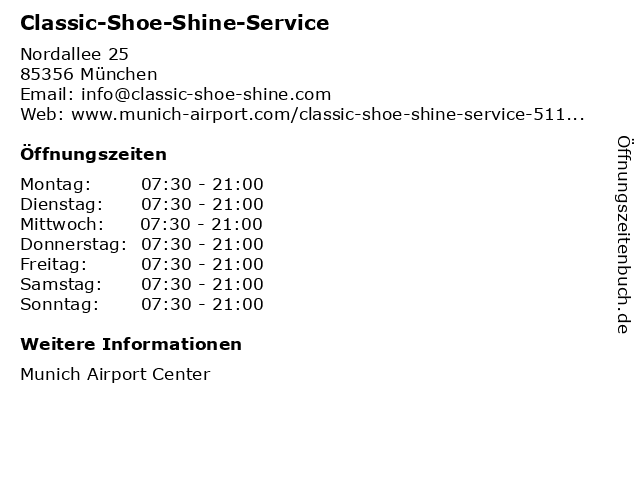 Classic-Shoe-Shine-Service in München: Adresse und Öffnungszeiten