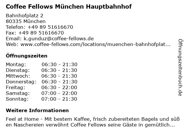 Coffee Fellows München Hauptbahnhof in München: Adresse und Öffnungszeiten