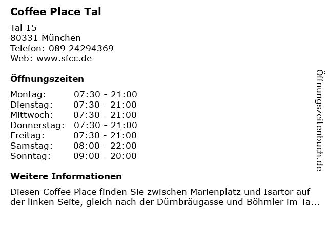 Coffee Place Tal in München: Adresse und Öffnungszeiten