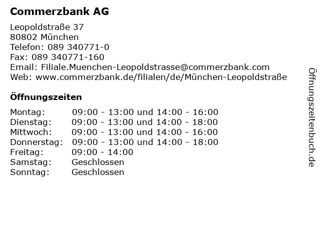Commerzbank AG in München: Adresse und Öffnungszeiten