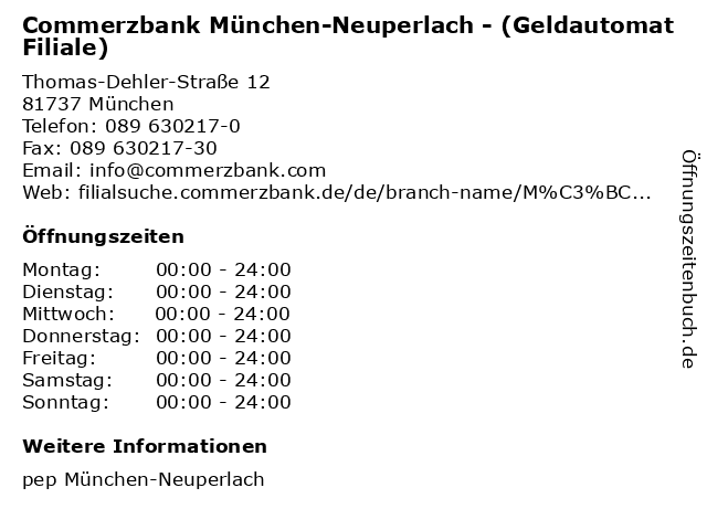 Commerzbank München-Neuperlach - (Geldautomat Filiale) in München: Adresse und Öffnungszeiten