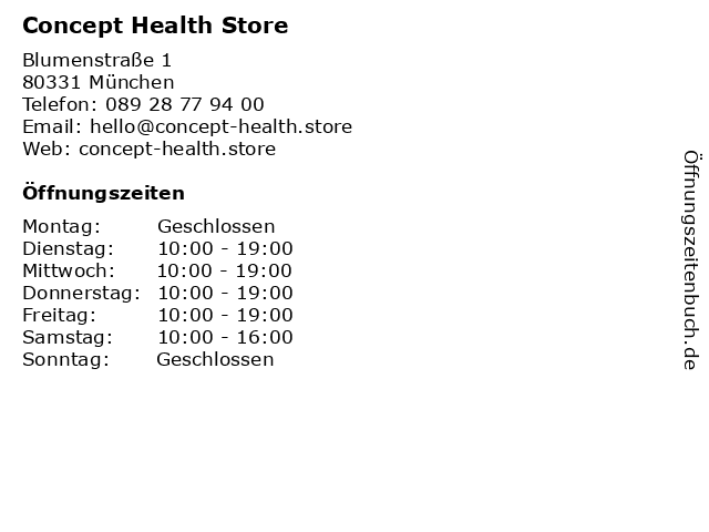 Concept Health Store in München: Adresse und Öffnungszeiten