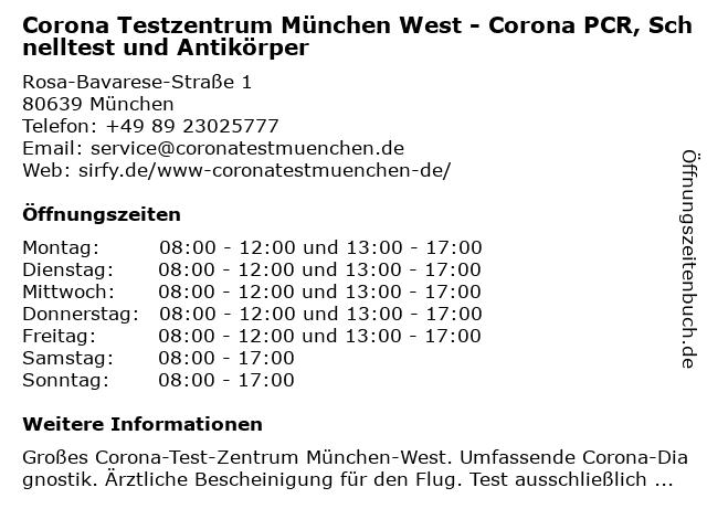 Corona Testzentrum München West - Corona PCR, Schnelltest und Antikörper in München: Adresse und Öffnungszeiten