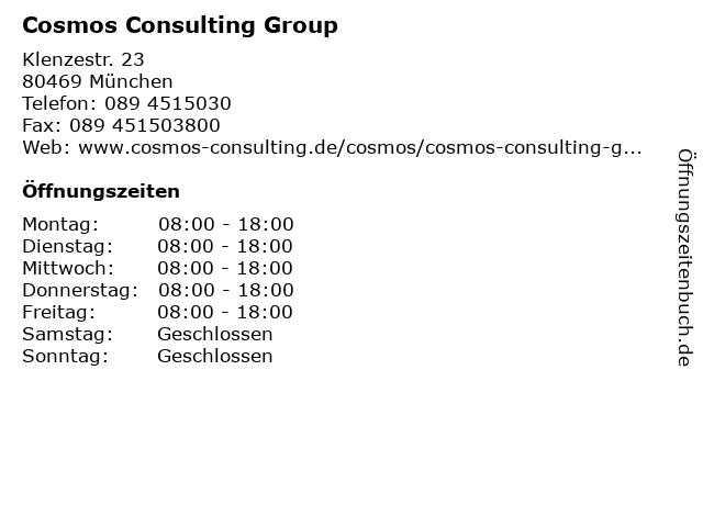 Cosmos Consulting Group in München: Adresse und Öffnungszeiten