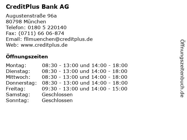 CreditPlus Bank AG in München: Adresse und Öffnungszeiten