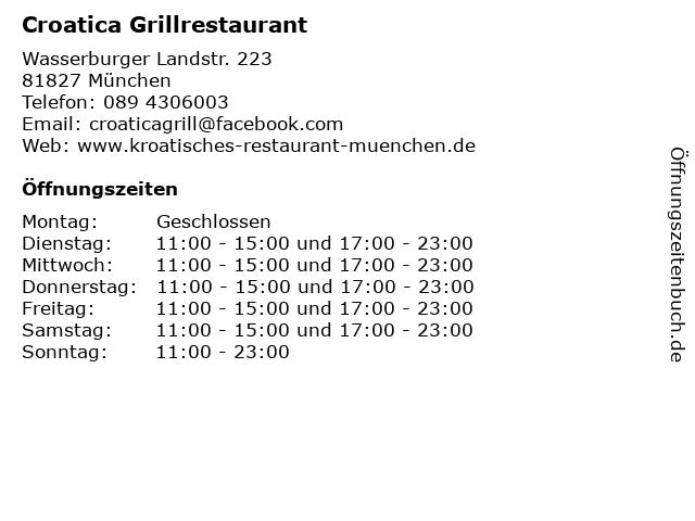 Croatica Grillrestaurant in München: Adresse und Öffnungszeiten