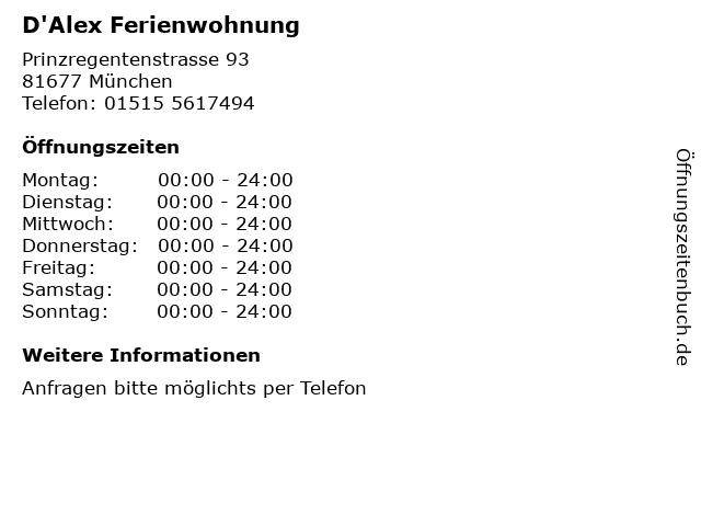 D'Alex Ferienwohnung in München: Adresse und Öffnungszeiten