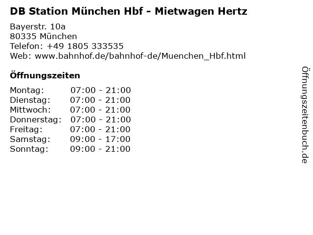 DB Station München Hbf - Mietwagen Hertz in München: Adresse und Öffnungszeiten