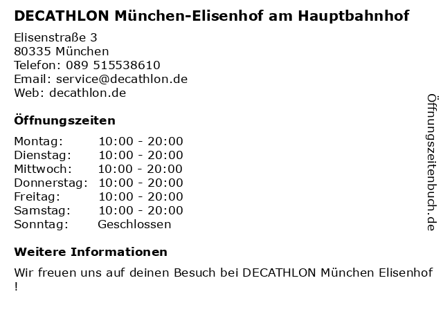 DECATHLON München-Elisenhof am Hauptbahnhof in München: Adresse und Öffnungszeiten