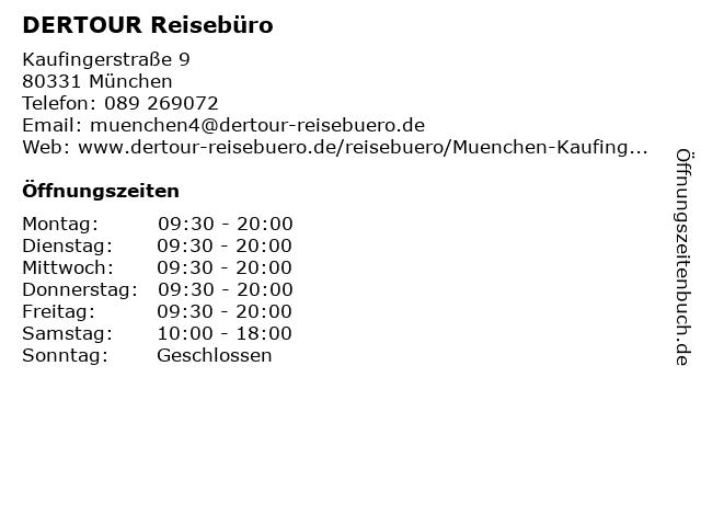 DER Deutsches Reisebüro in München: Adresse und Öffnungszeiten