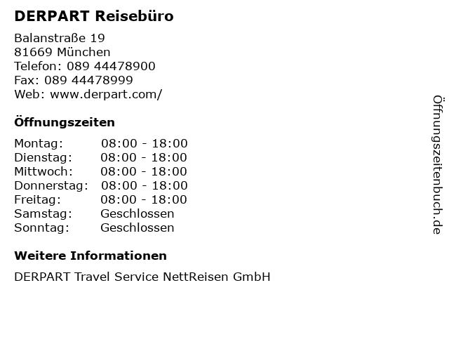 DERPART Reisebüro in München: Adresse und Öffnungszeiten