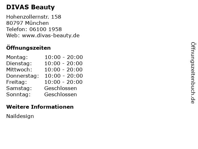 DIVAS Beauty in München: Adresse und Öffnungszeiten