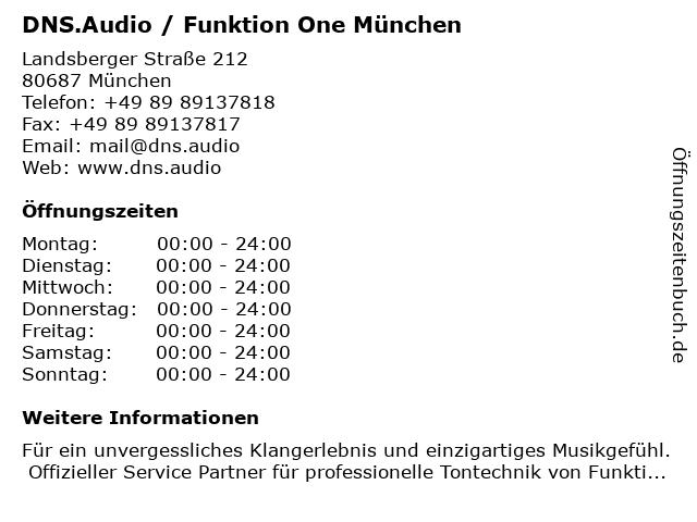 DNS.Audio / Funktion One München in München: Adresse und Öffnungszeiten