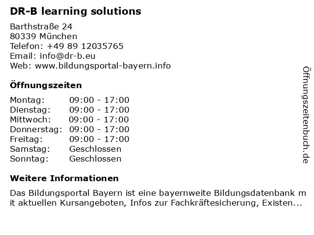 DR-B learning solutions in München: Adresse und Öffnungszeiten