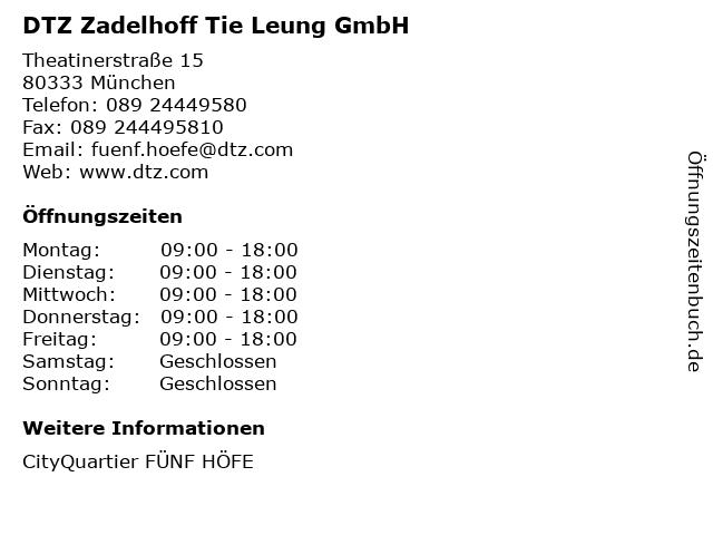 DTZ Zadelhoff Tie Leung GmbH in München: Adresse und Öffnungszeiten