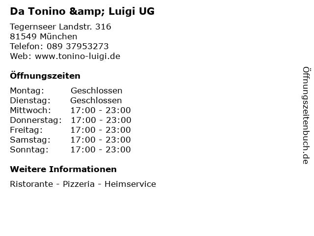 Da Tonino & Luigi UG in München: Adresse und Öffnungszeiten