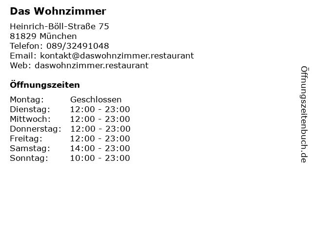 ᐅ öffnungszeiten Das Wohnzimmer Heinrich Böll Straße 75 In München