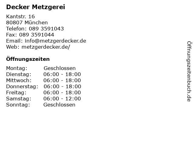 Decker Metzgerei in München: Adresse und Öffnungszeiten