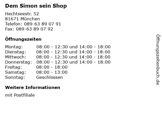 Dem Simon sein Shop in München: Adresse und Öffnungszeiten
