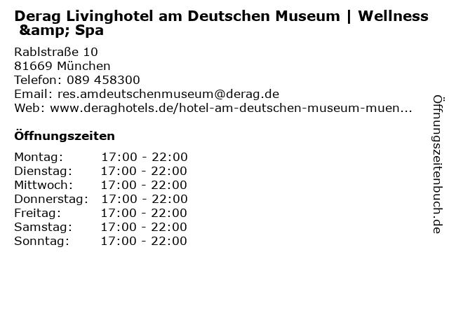 Derag Livinghotel am Deutschen Museum | Wellness & Spa in München: Adresse und Öffnungszeiten