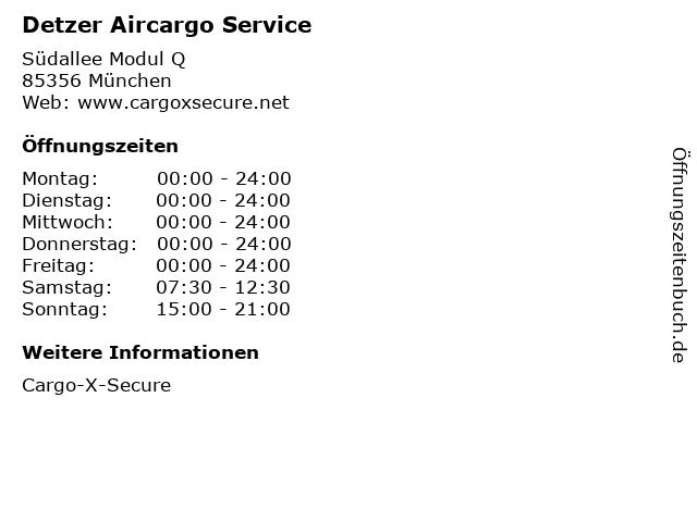 Detzer Aircargo Service in München: Adresse und Öffnungszeiten