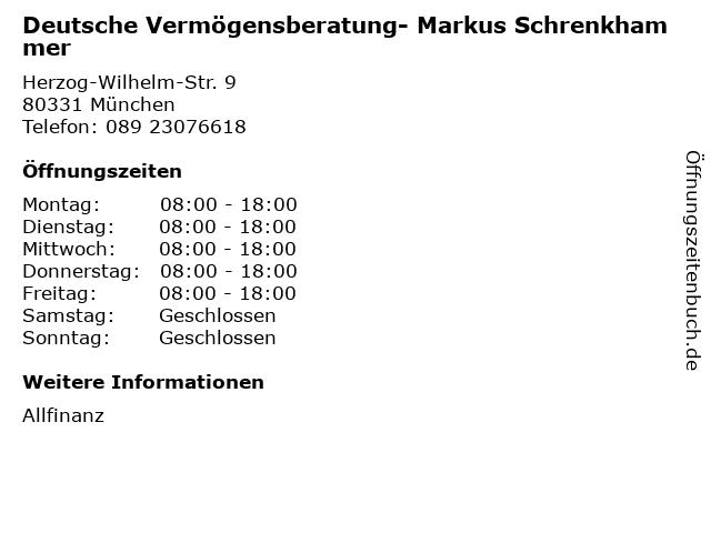 Deutsche Vermögensberatung- Markus Schrenkhammer in München: Adresse und Öffnungszeiten