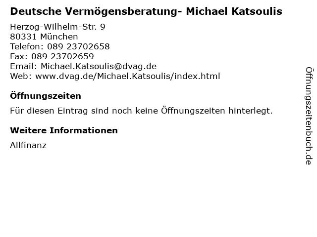 Deutsche Vermögensberatung- Michael Katsoulis in München: Adresse und Öffnungszeiten