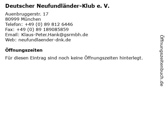 Deutscher Neufundländer-Klub e. V. in München: Adresse und Öffnungszeiten