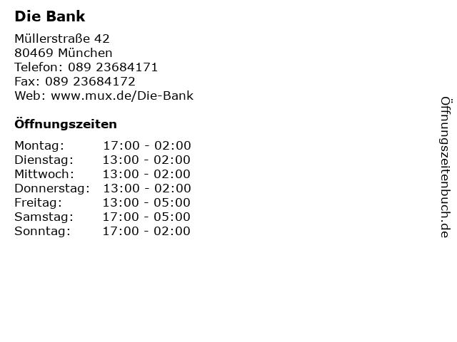 Die Bank in München: Adresse und Öffnungszeiten