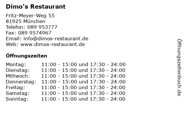 Dimo's Restaurant in München: Adresse und Öffnungszeiten
