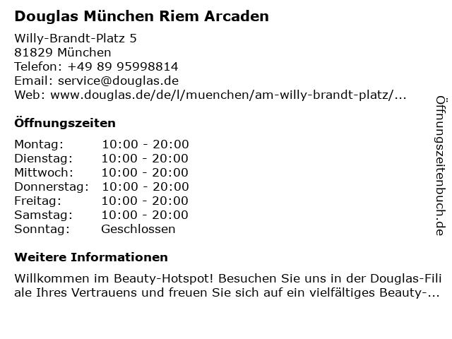 Parfümerie Douglas München Riem in München: Adresse und Öffnungszeiten