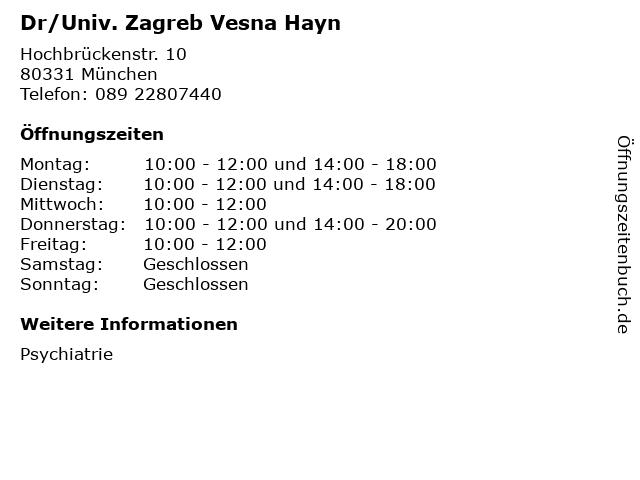 Dr/Univ. Zagreb Vesna Hayn in München: Adresse und Öffnungszeiten