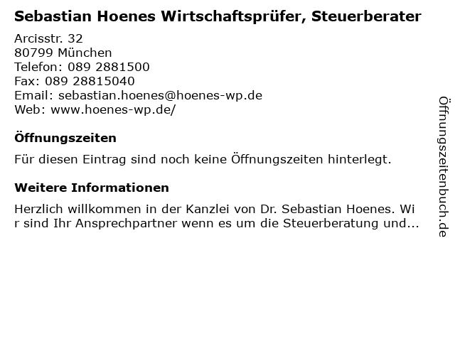 Dr. Sebastian Hoenes Wirtschaftsprüfer, Steuerberater in München: Adresse und Öffnungszeiten