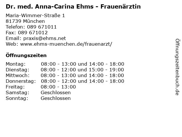 Dr. med. Anna-Carina Ehms - Frauenärztin in München: Adresse und Öffnungszeiten