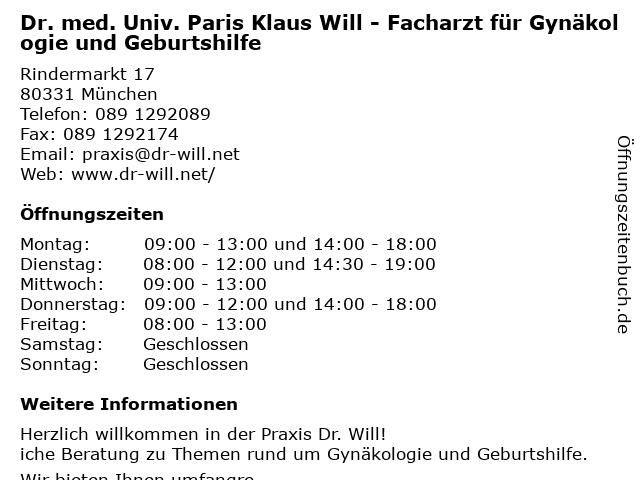 Dr. Paris Klaus Will in München: Adresse und Öffnungszeiten