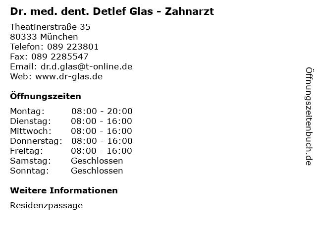 Dr. med. dent. Detlef Glas - Zahnarzt in München: Adresse und Öffnungszeiten
