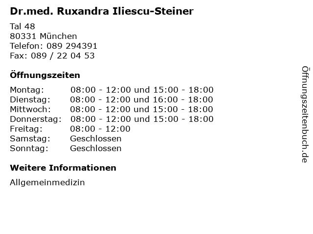 Dr.med. Ruxandra Iliescu-Steiner in München: Adresse und Öffnungszeiten