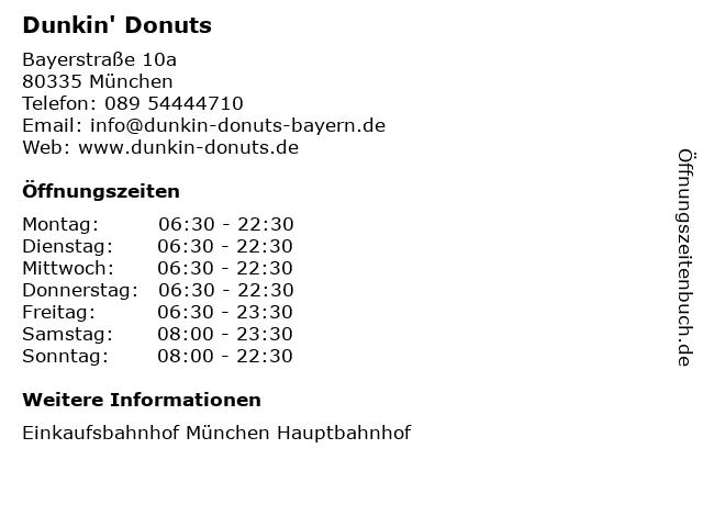Dunkin' Donuts in München: Adresse und Öffnungszeiten