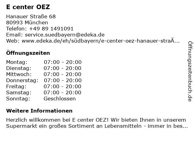 EDEKA center OEZ in München: Adresse und Öffnungszeiten