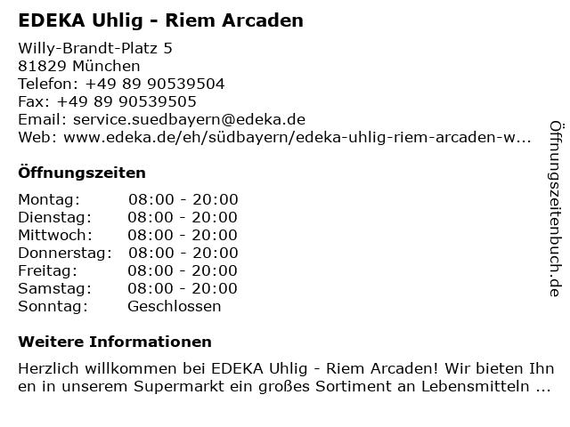 EDEKA Uhlig - Riem Arcaden in München: Adresse und Öffnungszeiten