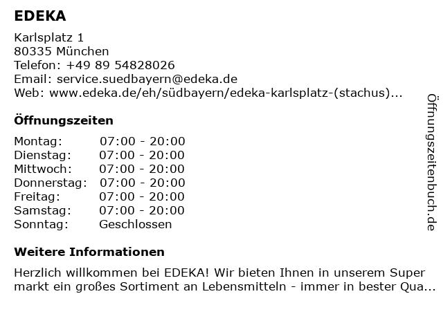 EDEKA in München: Adresse und Öffnungszeiten