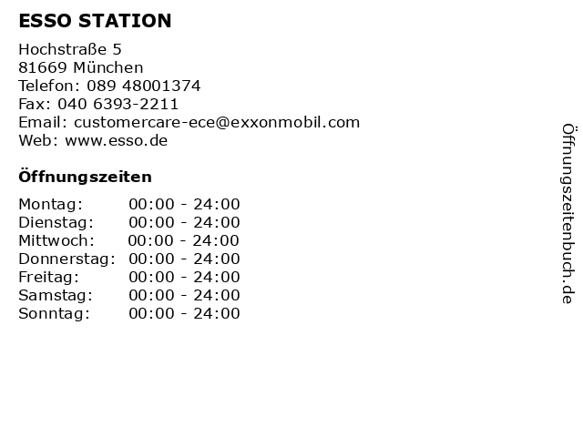 ESSO STATION in München: Adresse und Öffnungszeiten