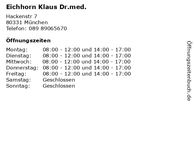 Eichhorn Klaus Dr.med. in München: Adresse und Öffnungszeiten