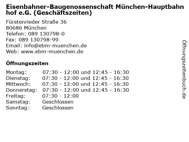 Eisenbahner-Baugenossenschaft München-Hauptbahnhof e.G. (Geschäftszeiten) in München: Adresse und Öffnungszeiten