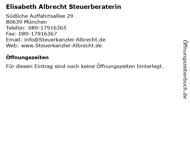 Elisabeth Albrecht Steuerberaterin in München: Adresse und Öffnungszeiten